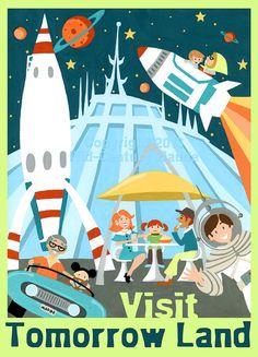 Rocket Ship Art Disney Space Mountain Mid Century Modern 5 x 7 inch print