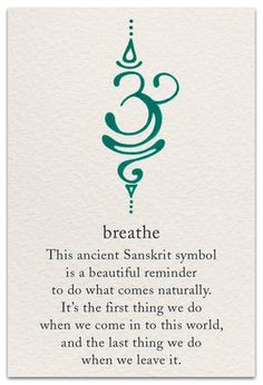 The Breathe Sanskrit symbol is calming yet motivating, just like active breathing! Take short breaks to breathe deeply throughout your day - especially if you're stressed - and you'll probably notice that you feel less exhausted by the end of it Simbols Tattoo, Body Art Tattoos, New Tattoos, Tatoos, Yoga Tattoos, Chakra Tattoo, Necklace Tattoo, Truth Tattoo, Unique Tattoos