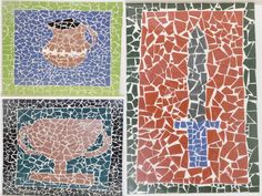 Roman Mosaics_ group activity with Y3!  End of range 10x10 tiles on treated MDF board. A terms work but briliant result