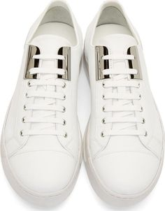 Neil Barrett White Leather Metal Plate Sneakers