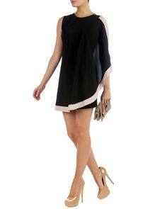 BOLTY - Asymmetrical draped tunic dress.  8121190 Type: Night Out Dresses Length: Above Knee Color: Black Brand: Ted Baker Style/Collection: Bolty Dress Style Tags: Ted Baker Night Out Dresses
