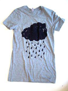 Womens Rain Cloud T Shirt S M L XL heather grey by abjectbirth, $16.00