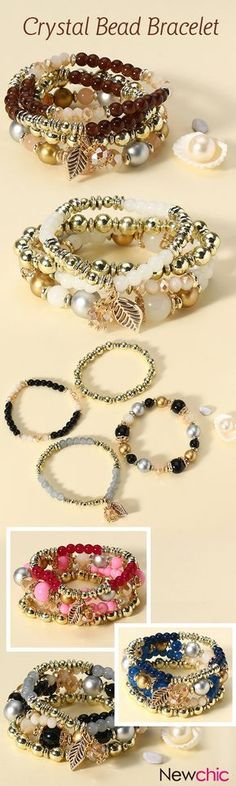 [Newchic Online Shopping] 49% OFF 4 Pcs/set Multilayer Crystal Bead Bracelet with Bohemian Leaf Pendant for Women