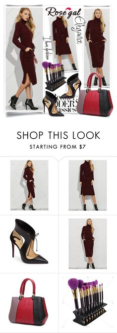 """""""Slit Belted Dress"""" by fashionb-784 ❤ liked on Polyvore featuring Christian Louboutin, fashionable and rosegal"""