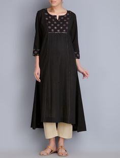 Buy Black Block Printed Cotton Kurta Apparel Tunics & Kurtas Online at Jaypore.com Punjabi Dress, Pakistani Dresses, Indian Dresses, Indian Outfits, Punjabi Suits, Kurta Patterns, Frock Patterns, Indian Attire, Indian Wear