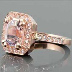 Asscher Cut Morganite Rose Gold Engagement Ring with White Sapphire Halo - LS1513