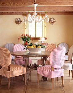 seer sucker chairs... perfect for a beach house