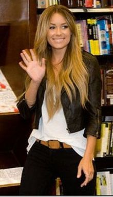 lauren conrad - cropped leather jacket. casual wavy hair.
