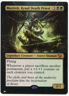 Mazirek, Kraul Death Priest (Commander Anthology) - Gatherer - Magic: The Gathering Mtg Decks, Mtg Altered Art, Writing Fantasy, Another A, Thing 1, Legendary Creature, Curious Creatures, Magic The Gathering Cards, Alternative Art