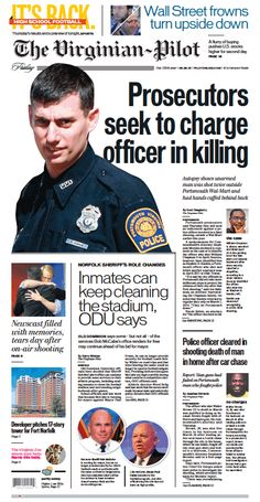The Virginian-Pilot's front page for Friday, Aug. 28, 2015.