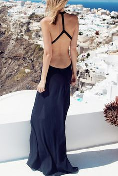 Black Open Back Thigh Split Maxi Vacation Dress