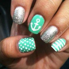 Sailor nails #nails #fashion