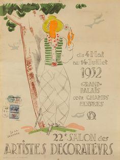 JEAN DEBARRE (1907-1968) Affiche'' 22ème Salon des Artistes Décorateurs en 1932 au Grand Palais''