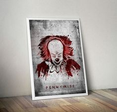 Pennywise - illustration of villain from Stephen King's IT , horror, slasher, halloween, movie, poster, retro, nightmare, horror gift, clown