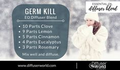 Kill Diffuser Blend Diffusing essential oils are an efficient and effective way to kill germs.Diffusing essential oils are an efficient and effective way to kill germs. Essential Oil Diffuser Blends, Essential Oil Uses, Natural Essential Oils, Young Living Oils, Young Living Essential Oils, Easential Oils, Doterra Oils, Diffuser Recipes, Best Oils