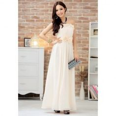 $27.94 Elegant Style Low-Cut Solid Bowknot Embellished Long Dress For Women