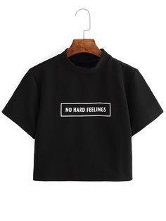 04daad90dd86d Black Letter Print Crop T-shirt Crop Tee