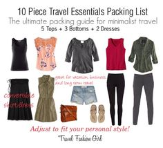 Mastering the 10-Piece Travel Wardrobe (I'd exchange the black for a different color, and the denim shorts, for denim capris…)  | followpics.co