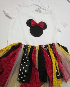 Minnie Mouse Inspired Fabric Scrap Tutu with by priscillamartin. $42.00 USD, via Etsy.
