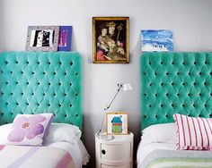 driftwood interiors - Love the color and texture of the tufted headboards. Velvet Tufted Headboard, Tufted Headboards, Large Headboards, Velvet Bedroom, Fabric Headboards, Turquoise Headboard, Turquoise Bed, Green Headboard, Turquoise Fabric