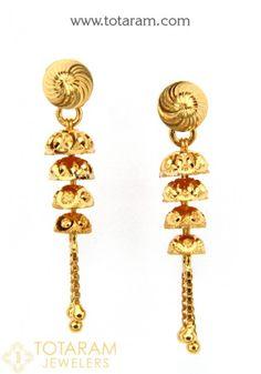22 Karat Gold 'Detachable' Drop Earrings for Women Gold Chandelier Earrings, Gold Drop Earrings, Gold Necklace, Baby Earrings, Women's Earrings, Gold Jewelry, Women Jewelry, Jewellery, Earrings Artificial