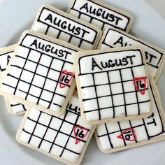 """These """"save-the-date"""" cookies are genius for a bridal shower.Photo Credit: District Desserts on Etsy Date Cookies, Sugar Cookies, Mini Cookies, Wedding Favors Cheap, Bridal Shower Favors, Bridal Shower Desserts, Food For Bridal Shower, Cheap Favors, Engagement Party Games"""