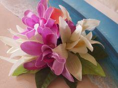 Tropical silk flower hawaiian hair clip (C)