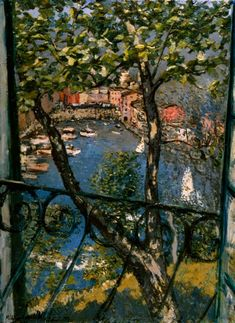 Open window, View of Portofino, Michele Cascella. Italian (1892 - 1989)