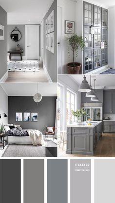 Grey Bedroom Colors, Light Gray Bedroom, Bedroom Colour Palette, Light Grey Walls, Bedroom Color Schemes, Blue Bedroom, Paint Colours For Bedrooms, House Color Schemes Interior, House Color Palettes