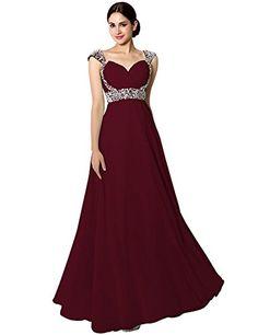 36a0653d75ba5 Sarahbridal Women's Long Chiffon Bridesmaid Dress Cap Sle... https://www