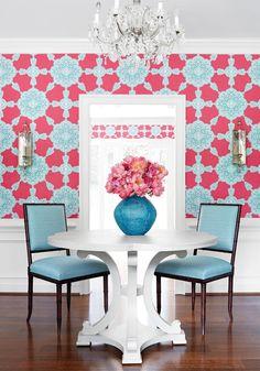 THIBAUT MEDALLION PAISLEY WALLPAPER T88730 Paisley Wallpaper, Fabric Wallpaper, Wall Wallpaper, Oriental Wallpaper, Trellis Wallpaper, House Of Turquoise, Pink Turquoise, Fabric Houses, Bathroom Wallpaper