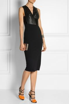 Dion Lee|Orbit leather and jersey-crepe dress|NET-A-PORTER.COM