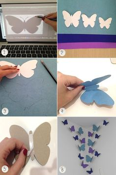 Borboleta de Papel: 25 Moldes crafts for kids for teens to make ideas crafts crafts Butterfly Wall Art, Paper Butterflies, Butterfly Crafts, Paper Flowers Diy, Butterfly Mobile, Diy Crafts Hacks, Diy Home Crafts, Diy Arts And Crafts, Diy Crafts For Kids
