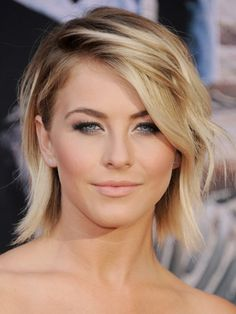To get Julianne Hough's messy bob, create a side part and curl random pieces throughout the head for natural-looking texture. For makeup: trace liquid liner along upper lashes; while the ink is wet, brush a sparkly black powder over lines to intensify the hue. Blend the shade up toward creases, then coat inner eye corners and browbones with silver, gold or champagne shadow. (Used: LORAC Pro Palette shades Slate, Nude, Espresso and Taupe)