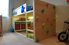 I built a first bed for my two year old son based on the Ikea Kura but featuring a climbing wall. The wall itself has evenly spaced holes drilled in it with T-Nuts installed so that I can make the ...