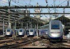French TGV's and Duplex units. Paris, Gare de Lyon