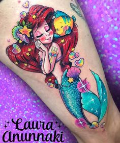 """26.8k Likes, 725 Comments - Laura Anunnaki (@anunnakitattoo) on Instagram: """"Sweet #littlemermaid for the sweet Sofi! 30 centimeters in one sesion of love  I had a lot of…"""""""