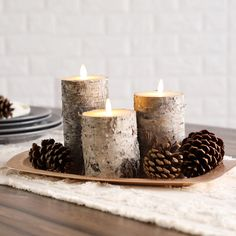 Birch Tree Decor, Log Decor, Birch Decorations, Wedding Decorations, Wedding Ideas, Birch Centerpieces, Pillar Candles, Flickering Candle, Scented Candles