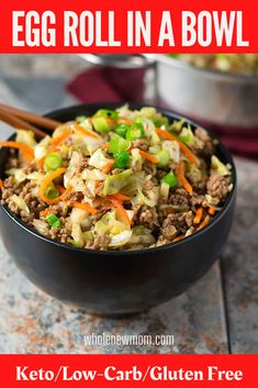 This Healthy Egg Roll in a Bowl (aka Crack Slaw) is soooo good you'll want to add it to your meal rotation for sure! And it's super adaptable too! You can even make it a Vegan Egg Roll in a Bowl too if you want! Either way, you will love this Easy meal that you can make with pork, chicken, or beef! Egg Roll Recipes, Lunch Recipes, Paleo Recipes, Low Carb Recipes, Dinner Recipes, Easy Recipes, Free Recipes, Keto Cabbage Recipe, Cabbage Recipes