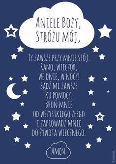 Plakat marynarski - Modlitwa Aniele Boży niebieska Kids And Parenting, Motto, Photo Booth, Happy New Year, Everything, Diy And Crafts, Kids Room, Prayers, Poster