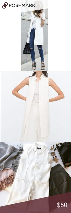 White Contemporary Long Vest Coat Lined design Notch lapel Open front Functional pockets Kick split to back Longline cut Slim fit - cut closely to the body Machine wash 100% Polyester                                                      🔸Bundle & Save 15% on 2+ items!                         🔸Free gift on purchases over $100!                    🙅🏼No trades / selling off of Posh.                         🌟Offers always welcome!🌟 (low-ball offer = counteroffer 😊)  Claire Louise…