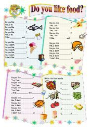 English worksheet: Do uou like food song (B/W version included) Children´s Songs 2