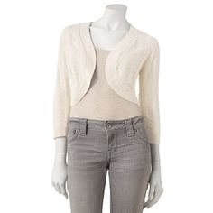this comes in off white or blush pink. either would work well. lots more boleros in khols juniors