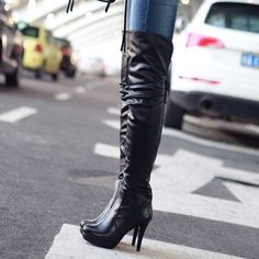 New Fashion Hot Sale Womens High Heel Stiletto Over Thigh Knee High Boot Pleated Leather Buckle Shoes. If you don't receive. All products are quality checked. They are new and in good. Top Circum : About 38CM. | eBay!