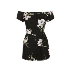 Floral Cold Shoulder Playsuit by Love (345 ARS) ❤ liked on Polyvore featuring jumpsuits, rompers, black, floral print romper, floral rompers, topshop rompers, playsuit romper and floral romper
