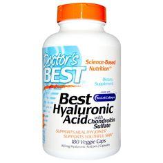 Doctor's Best, Best гиалуроновая кислота с хондроитин сульфатом, 180 вегетарианских капсул