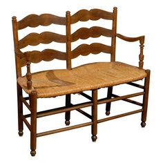 French Rush Seat Bench | From a unique collection of antique and modern benches at http://www.1stdibs.com/furniture/seating/benches/