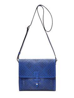 Duane Street Laser-Cut Leather Messenger from On-the-Go Handbags on Gilt