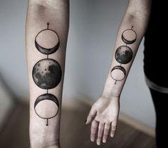 Dotwork moon tattoo by Kamil Czapiga