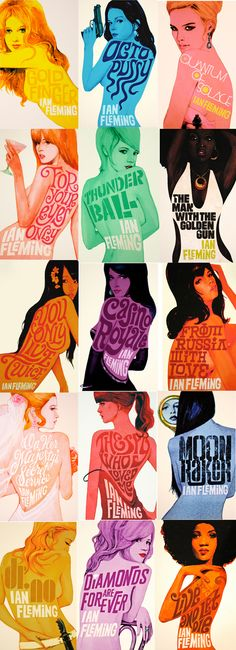 Gorgeous Illustrated James Bond book covers , designed by Michael Gillette, published by Penguin UK, 2008.
